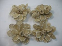 4 Burlap flowers  4  for scrapbooking pins barrette by Toide, $12.00