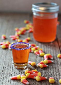 Candy Corn Infused Vodka | 1/2 cup candy corn 1 1/2 cups vodka Equipment 1 16-ounce or larger mason jar or other airtight glass jar