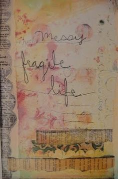 Love this scalloped border of newsprint by Susie Muse at http://mylifeonebitatatime.blogspot.com
