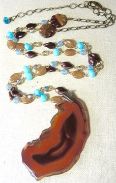 Amber Agate Long Beaded Necklace by BraceletsofBlueRidge on Etsy