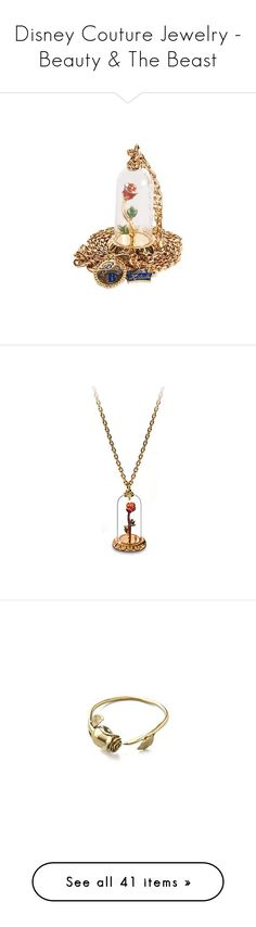 """""""Disney Couture Jewelry - Beauty & The Beast"""" by atomik-concia ❤ liked on Polyvore featuring disney, jewelry, necklaces, accessories, jewels, rosette necklace, disney couture, rose jewellery, rose jewelry and disney couture necklace"""