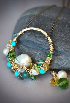 Freeform Wire Wrapped Brass Lariat freshwater pearl
