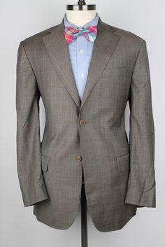 MR. SID Zegna Trofeo Cloth Light Brown Plaid Wool 42 L mens Sport Coat  #MrSid #TwoButton