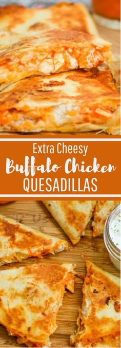 Your most loved wings just met your most loved ooey, gooey Tex Mex treat with these fresh Extra Cheesy Buffalo Chicken Quesadillas. It was predeterm… Extra Cheesy Buffalo Chicken Quesadillas - Extra Cheesy Buffalo Chicken Quesadillas Gourmet Recipes, Mexican Food Recipes, Appetizer Recipes, Cooking Recipes, Appetizers, Beef Recipes, Easy Recipes, Healthy Recipes, Easy Cooking
