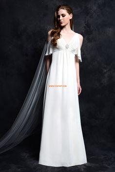 Col en V Mousseline polyester Sans manches Robes de mariée 2014
