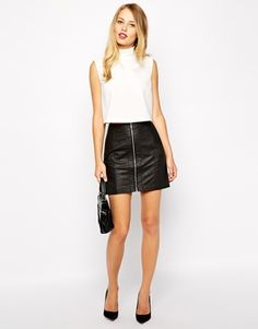 Shop Oasis Biker Faux Leather Skirt at ASOS. Faux Leather Skirt, Leather Mini Skirts, Black Leather, Dress Skirt, Dress Up, Latest Fashion Clothes, Fall Outfits, Fashion Looks, Clothes For Women