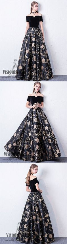 Black Off The Shoulder Flower Printed Lace Up Floor Length Prom Dress, Party Prom Dress, Prom Dresses, VB0305 #promdress