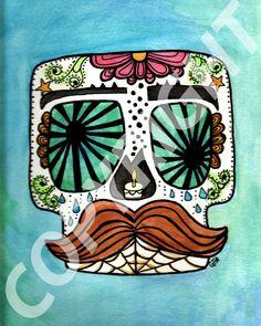 Etsy - Mustache Sugar Skull Print - 8x10