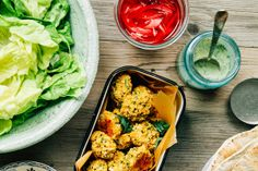 spring onion falafel with millet + some accompaniments » The First Mess // healthy vegan recipes for every season