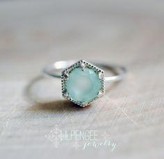 SALE. Aqua hexagon ring - 6mm aqua chalcedony ring. silver ring. geometric ring. mint green. pale mint. gemstone ring. statement ring by lilpengee on Etsy https://www.etsy.com/listing/207434703/sale-aqua-hexagon-ring-6mm-aqua