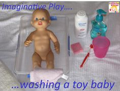 Washing a doll is such a great pretend play activity that you can complete almost entirely with objects found around your home. Encourage your child to wash, dress, and feed a toy doll using appropriate single words, phrases, and early sentences