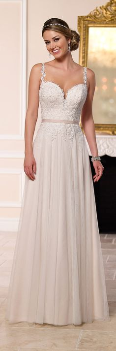 Stella York long a-line wedding dress 2016                                                                                                                                                      More