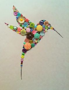 Button art. Hummingbird