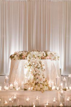 romantic sweetheart table idea for wedding reception {candles} http://www.trendybride.net/sweetheart-table-ideas/
