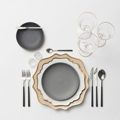 RENT: Anna Weatherley Chargers in Desert Rose/Gold + Anna Weatherley Dinnerware in White/Gold + Heath Ceramics in Mist + Danish Flatware in Ebony + Chloe 24k Gold Rimmed Stemware + Antique Crystal Salt Cellars  SHOP: Anna Weatherley Dinnerware in White/Gold + Chloe 24k Gold Rimmed Stemware