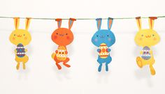 Free Printable Easter Bunny Garland - Happy Thought Papercrafts
