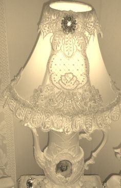 bridal teapot lamp....would this look stupid in my guest bathroom? I think this is adorable!