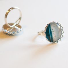 Green Blue Door Photo Ring Wearable Art by simonalimona on Etsy