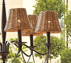 Woven Wicker Chandelier Shade, Set of 3 #potterybarn - would be great for the outdoors
