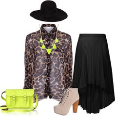 """""""neon/leopard"""" by elise-shane on Polyvore"""