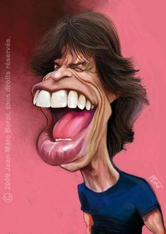 Mick Jagger - jmborot, printed at wittygraphy Mick Jagger, Caricature Artist, Caricature Drawing, Funny Caricatures, Celebrity Caricatures, Cartoon Faces, Funny Faces, Les Beatles, Music Pics