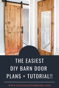 Sharing our plans for our DIY barn door including a sneaky little trick we did to save floor space and add a lil' somn' somn' extra! Come see! Diy Barn Door Plans, Diy Sliding Barn Door, Closet Barn Doors, Bedroom Closet Doors Sliding, Cheap Barn Doors, Diy Barn Door Hardware, Bifold Barn Doors, Barn Door Handles, Barn Style Doors