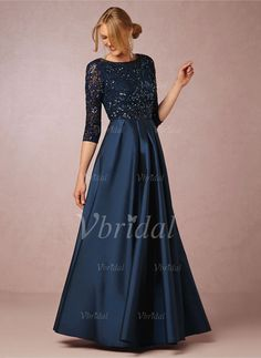 **Available @Vbridal in Navy or Black, correct size - ss**  A-Line/Princess Scoop Neck Floor-Length Lace Beading Satin Zipper Up Sleeves 1/2 Sleeves No 2015 Black Champagne Dark Navy Spring Fall Winter Mother of the Bride Dress
