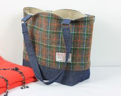 Harris tweed tote bag, Harris Tweed and denim tote bag, Harris tweed handbag, Green tartan tote bag, Harris tweed purse, Tartan tote bag