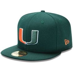 New Era Miami Hurricanes Green 59FIFTY Fitted Hat Storms 68e48a393040