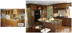 Not every kitchen design needs to stay within the existing space. See how Vestabul helped these homeowners get their dream kitchen by showing them that the space they needed was already there! Before After Kitchen, Open Up, Liquor Cabinet, Kitchen Design, Kitchens, Storage, Table, Room, Furniture