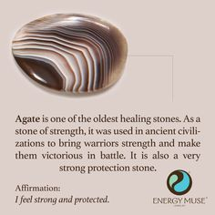 Agate is one of the oldest healing stones. As a stone of strength, it was used in ancient civilizations to bring warriors strength and make them victorious in battle. It is also a very strong protection stone. #crystals #agate #healing