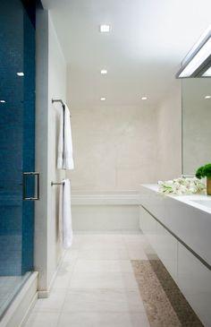 Modern Bathroom photo by a simple room - love the pebble tile idea