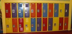 School Lockers installed by Gales on East 23rd St NYC. Gale's provided all welded lockers for this project. We had the Locker frames all painted yellow and the doors painted various colors per the schools request. Our Lockers are available in 30 colors at no additional charge. Contact Gales today for design and layout assistance.Gale's Industrial Supply. (917)727-6208 Bike Storage Room, School Lockers, Steel Locker, Painted Doors, Grandkids, Schools, Frames, Industrial, Nyc