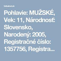 Pohlavie: MUŽSKÉ, Vek: 11, Národnosť: Slovensko, Narodený: 2005, Registračné číslo: 1357756, Registračný preukaz: 011854901001
