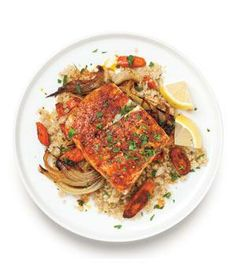 Roasted Bass and Carrots recipe from realsimple.com #myplate #protein #vegetables