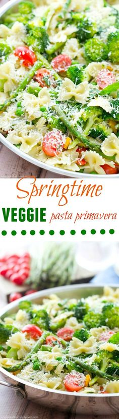 Loaded with a rainbow of springtime vegetables and lots of Parmesan, this garden-fresh pasta primavera is a delicious and healthy spring side dish! @WholeHeavenly
