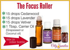 Focus Roller with Essential Oils {Help with Homework, Calming, and Focus} Young Living Essential Oils: Cedarwood, Lavender and Vetiver