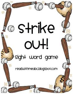 Strike Out!  Free Baseball Sight Word Game featuring the first 100 Fry Words ~Read With Me ABC