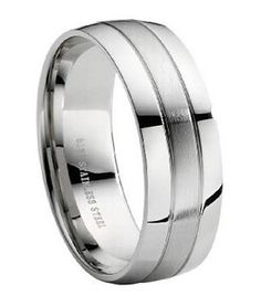 Men's Stainless Steel Wedding Band: Silver Promise Ring for Him