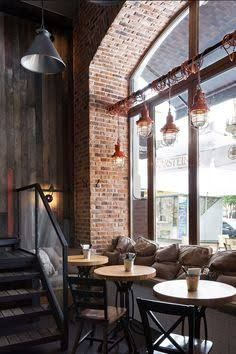 cool cafes seating bar windows - Google Search