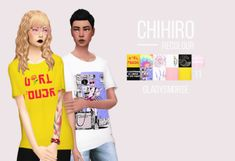 """CHIHIRO recolour """"this is the first part of my new year gift for you! i decided to revamp all my old downloads, since you guys were asking for them so much. this t-shirt comes with 11 swatches, has its own thumbnail and is maxis match (all texts are..."""
