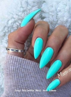 38 classy acrylic stiletto nails designs for summer 2019 Blue Acrylic Nails, Blue Nail Polish, Acrylic Nail Designs, Pedicure Colors, Manicure And Pedicure, Nail Colors, Pedicure Summer, Manicure Ideas, Nail Ideas