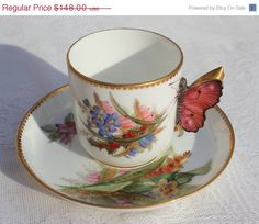 Valentine Sale RARE antique 1875 butterfly handle Royal Worcester demi-tasse cup, hand-painted