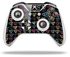 Kearas Hearts Black  Decal Style Skin fits Microsoft XBOX One S Wireless Controller * Continue to the product at the image link.Note:It is affiliate link to Amazon. #like