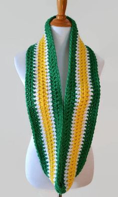 3b0922be379 Green White and Yellow Striped Infinity Scarf Crocheted Crocheted Scarf