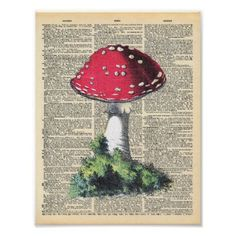 Vintage Dictionary Art Red Mushroom Fairy House Poster - diy cyo customize create your own personalize