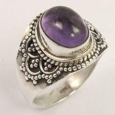 925 Solid Sterling Silver Beautiful Ring Size US 6.5 Natural AMETHYST Gemstone…