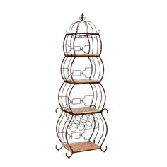 $148.77-$269.98 Organize your kitchen with this stunning wine storage etagere. With room for seven wine bottles, two racks that can hold 6 wine glasses and four shelves what more could you ask for? This beautiful bronze and wood piece fits perfect in any kitchen, entryway, or even bathroom and will make storage simple.