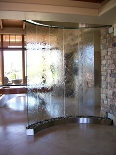 Indoor Water Features Ideas Indoor Water Features: Wall Fountain Decoration for Homes Indoor Water Features. Do you enjoy the cool ambiance and sound of a water fountain just located at the front l… Indoor Wall Fountains, Indoor Fountain, Water Fountains, Screen Design, Indoor Waterfall Wall, Water Wall Fountain, Indoor Water Features, Living Room Divider, Fountain Design