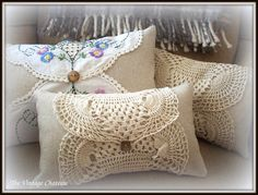 Sewing Pillows The Vintage Chateau: Boudoir Pillows Great idea for vintage table scarves Doilies Crafts, Lace Doilies, Fabric Crafts, Sewing Crafts, Sewing Projects, Diy Projects, Sewing Pillows, Diy Pillows, Cushions